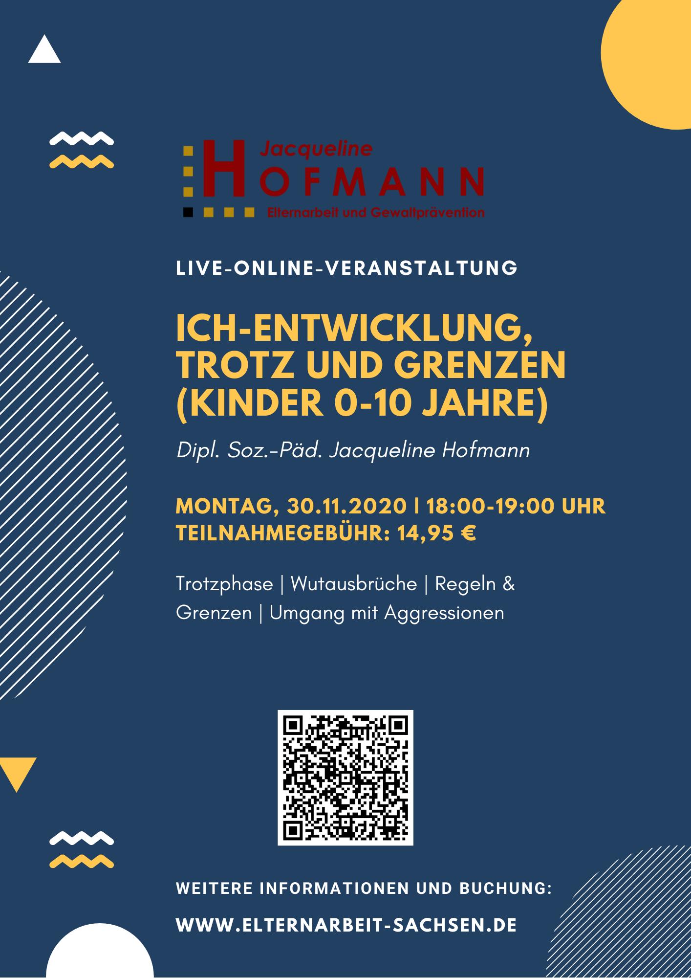 Live-Online-Veranstaltung: Ich-Entwicklung, Trotz und Grenzen (0-10 Jahre)